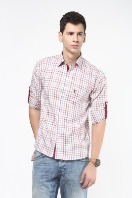Remo Men's Checkered Casual Beige, Red Shirt