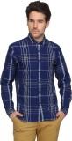Denimlab Men's Checkered Casual Dark Blu...