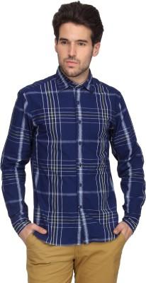 Denimlab Men's Checkered Casual Dark Blue Shirt