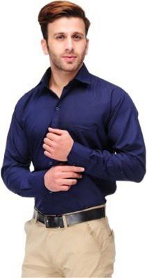 MAKHKHA Men's Solid Formal Dark Blue Shirt