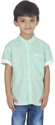 SuperYoung Boy's Solid Casual Green Shirt