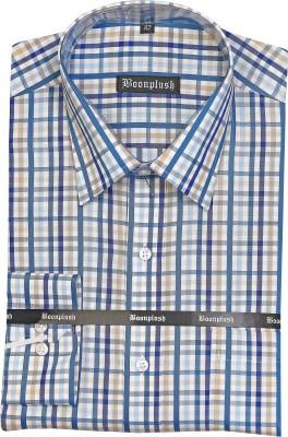 Boonplush Men's Checkered Formal Blue Shirt
