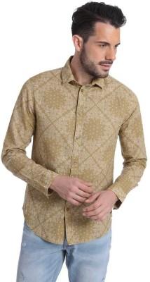 Jack & Jones Men's Printed Casual Beige Shirt