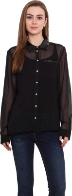 Blink Women's Solid Casual Black Shirt