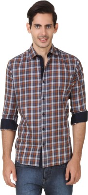 Smithsoul Men's Checkered Casual Brown, Grey Shirt