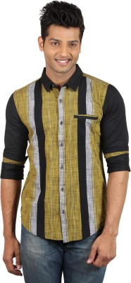 Le Tailor Men's Striped Casual Black, Yellow Shirt