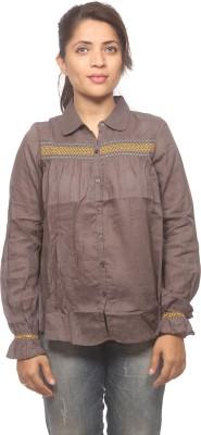 Spykar Women's Embroidered Casual Grey Shirt