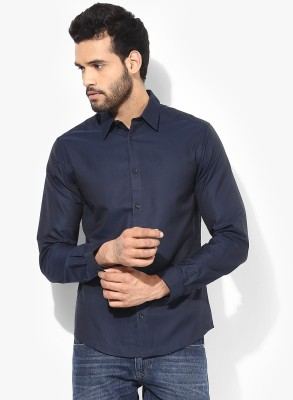 Jack & Jones Men's Solid Casual Dark Blue Shirt