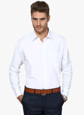Be Style Men's Solid Formal White Shirt