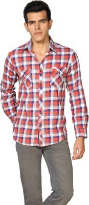 Provogue Men's Checkered Formal Orange Shirt