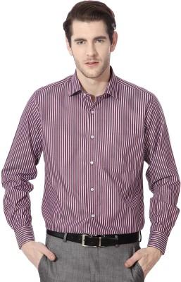 Van Heusen Men's Striped Formal Maroon Shirt