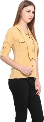 Desi Urban Women's Printed Casual Beige Shirt