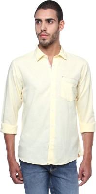 FERROUS Men's Solid Casual Yellow Shirt