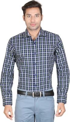 Don Vino Men's Checkered, Woven Casual Blue, Green, Yellow Shirt