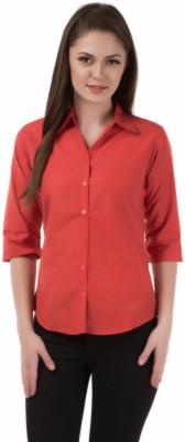 Shoprillo Women's Solid Formal Orange Shirt
