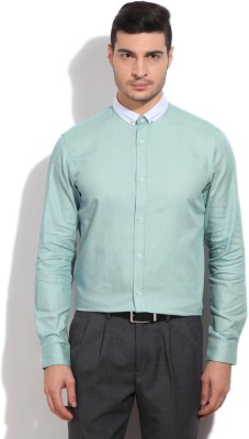 Arrow New York Men's Self Design Casual Green Shirt
