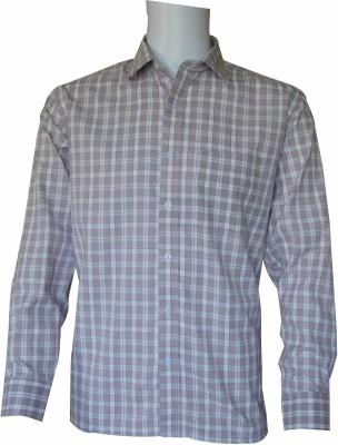 Ardeur Men's Checkered Formal White, Purple Shirt