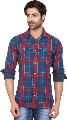 GoPlay Men's Checkered Casual Red Shirt
