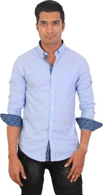 Tonyloom Men's Solid Casual Blue Shirt