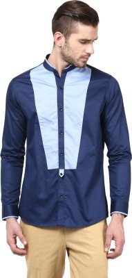 Invern Men's Solid Casual Blue Shirt