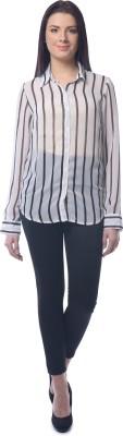 Chloe Women's Striped Casual White, Black Shirt