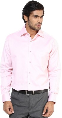 First Row Men's Solid Formal Pink Shirt