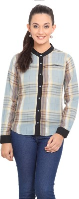 Palette Women's Checkered Casual Blue Shirt