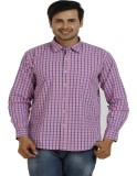 TT Men's Checkered Casual Pink Shirt