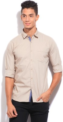 Pepe Jeans Men's Solid Casual Beige Shirt
