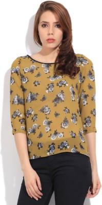 Lee Women's Printed Formal Yellow Shirt at flipkart
