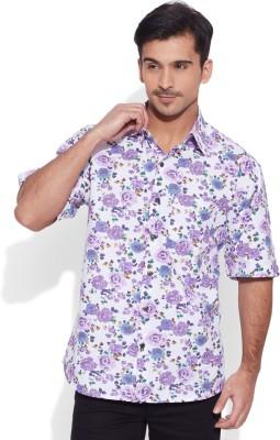 Very Me Men's Floral Print Casual White, Purple Shirt