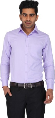 Prague Fashion Men's Self Design Formal Purple Shirt