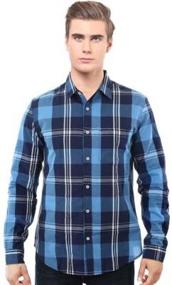 I CUBE CLUB Men's Checkered Casual Blue, White Shirt
