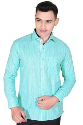 Fabrobe Men's Self Design Formal Green Shirt