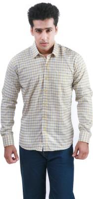 Frissk Men's Checkered Formal Yellow, Blue Shirt