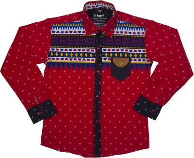 G-Apple Boy's Printed Casual Red Shirt