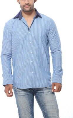 Roger Clothier Men's Striped Casual Blue Shirt