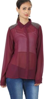 MadeinMyIndia Women's Embellished Casual Maroon Shirt