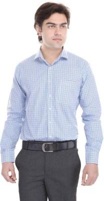 Cinchstore Men's Checkered Formal White Shirt