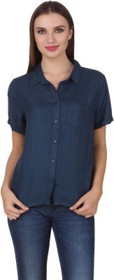 One Femme Women's Solid Casual Blue Shirt