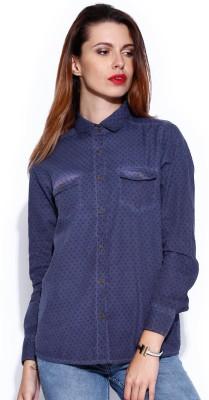 Noble Faith Women's Printed Casual Blue Shirt