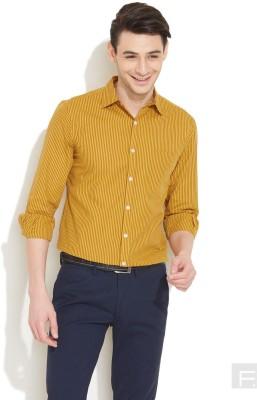 Coast Men's Striped Formal Yellow Shirt