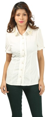Aosta Women's Solid Casual White Shirt