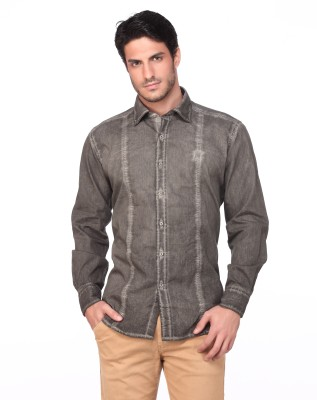 Fire & Ice Men's Striped Casual Grey Shirt