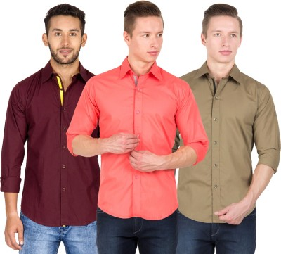 Tuscans Men's Solid Casual Multicolor Shirt