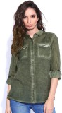 Roadster Women's Solid Casual Dark Green...