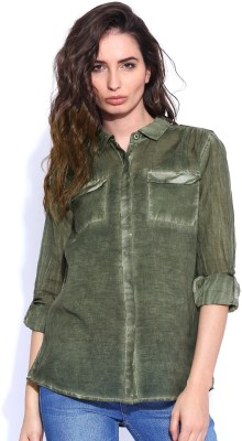 Roadster Women's Solid Casual Dark Green Shirt