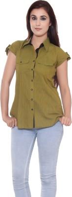GMI Women's Self Design Casual Green Shirt