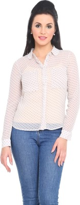 Phenomena Women's Polka Print Casual White Shirt