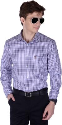 Frank Jefferson Men's Checkered Formal Purple Shirt